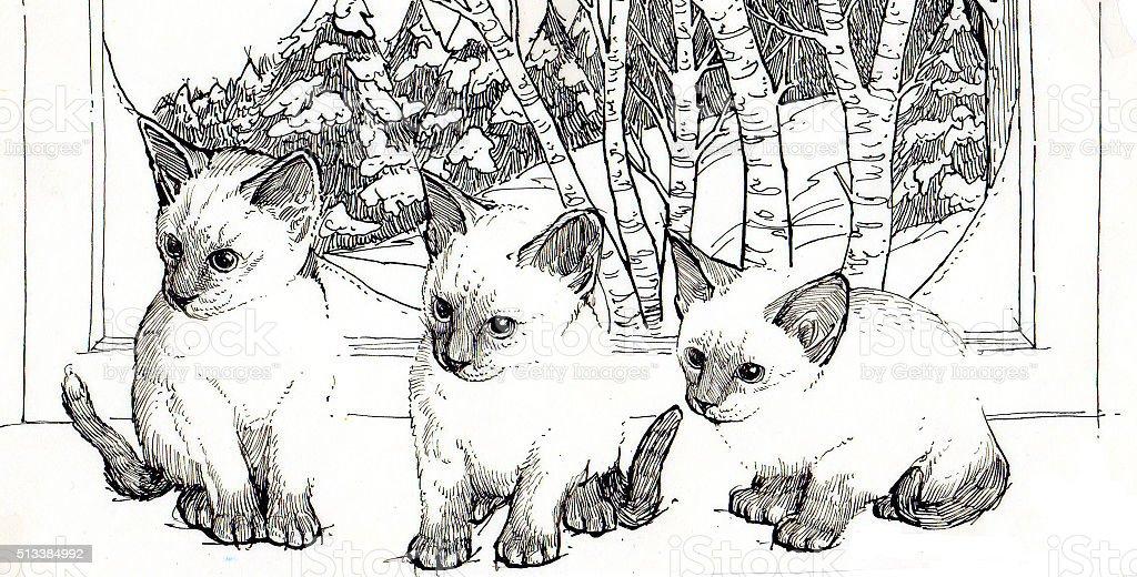 Siamesischer Kätzchen Lizenzfreies vektor illustration