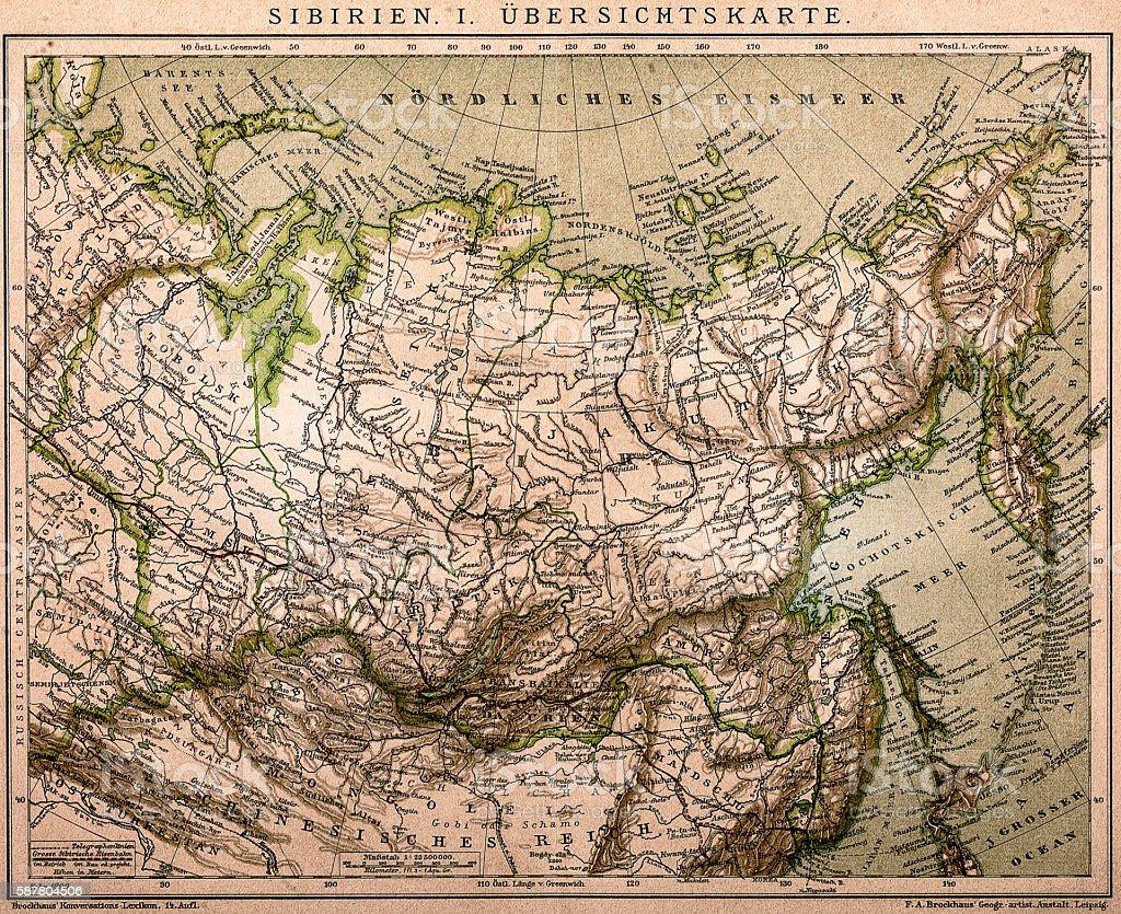 Siberia outline map vector art illustration