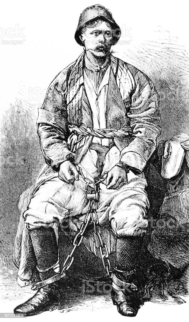 Siberian Convict in chains vector art illustration