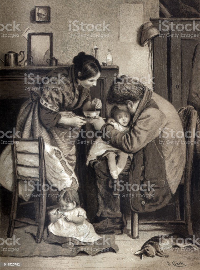 Sick child being tended by its parents vector art illustration