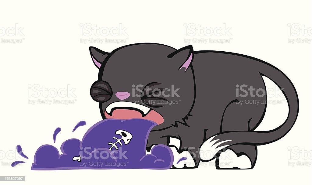 Sick Kitty 2 vector art illustration