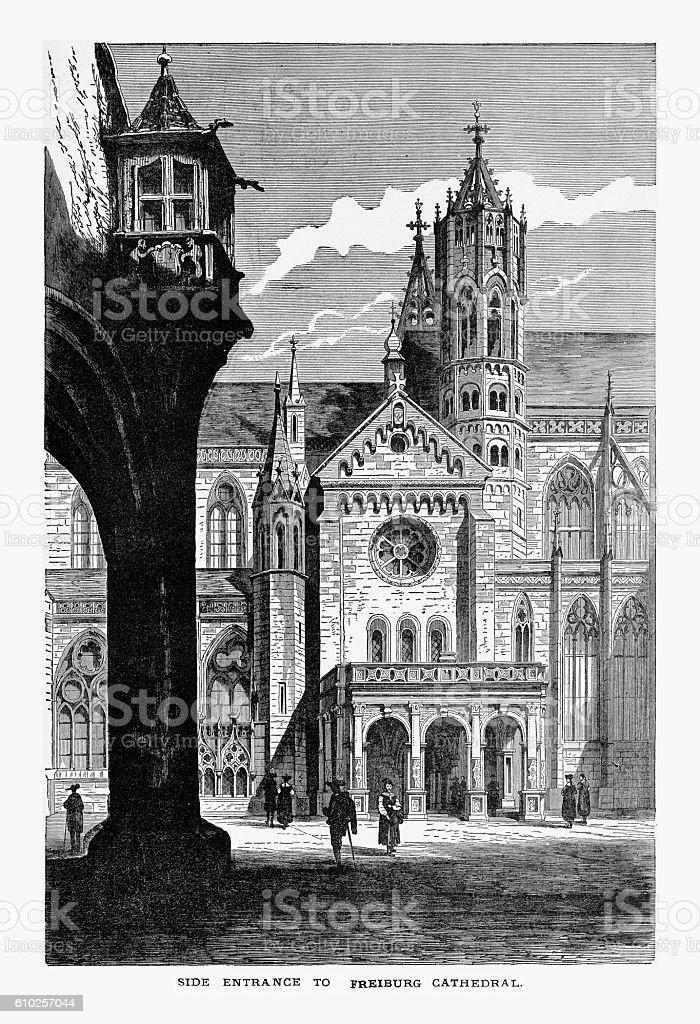 Side Entrance, Freiburg Minster Cathedral in Breisgau, Germany Circa 1887 vector art illustration