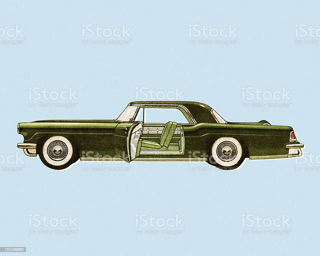 Sideview of A Green Vintage Car royalty-free stock vector art