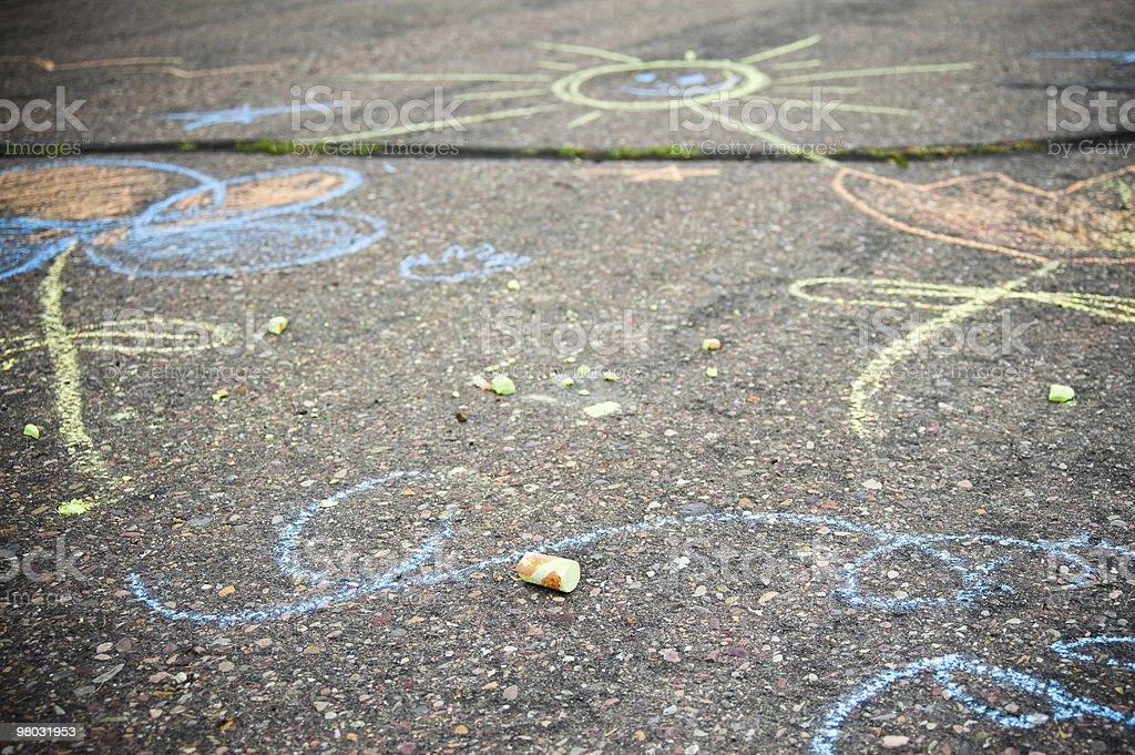 Sidewalk chalk drawings vector art illustration