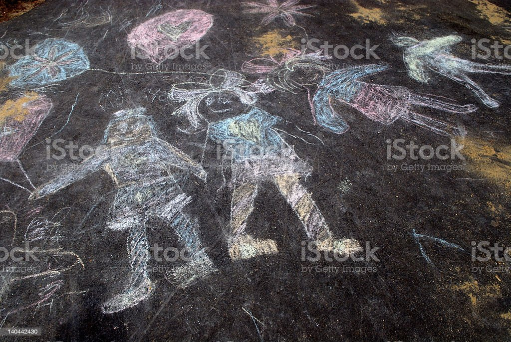 Sidewalk chalk of happy kids vector art illustration