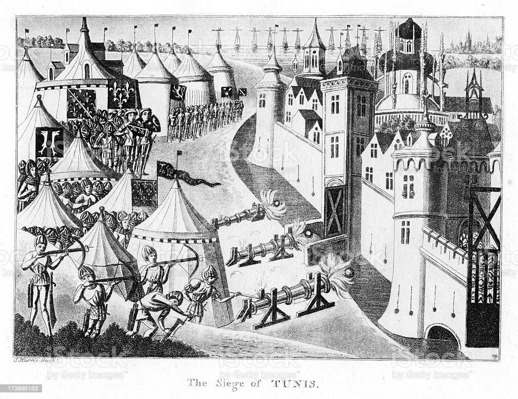 Siege of Tunis Medieval Warfare vector art illustration
