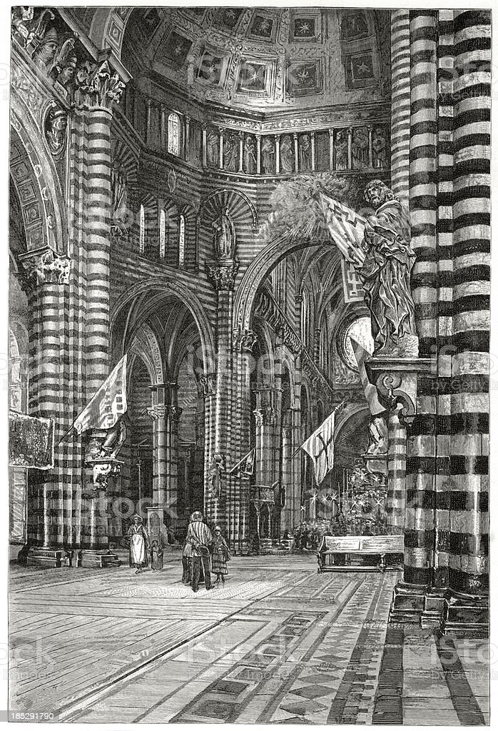 Siena Cathedral, interior, engraving vector art illustration
