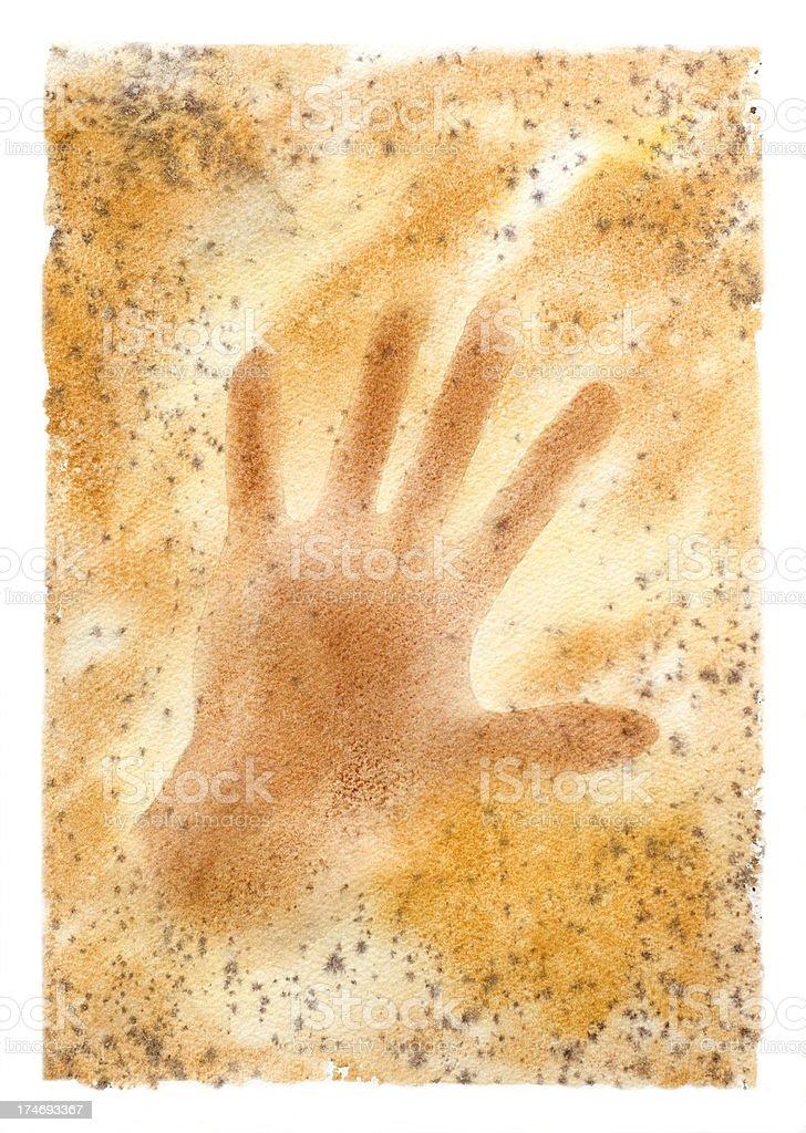 Sienna Hand Print Background vector art illustration