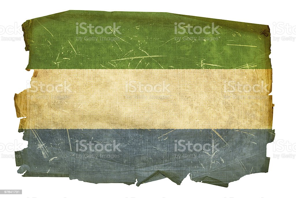 Sierra Leone Flag old, isolated on white background. royalty-free stock vector art