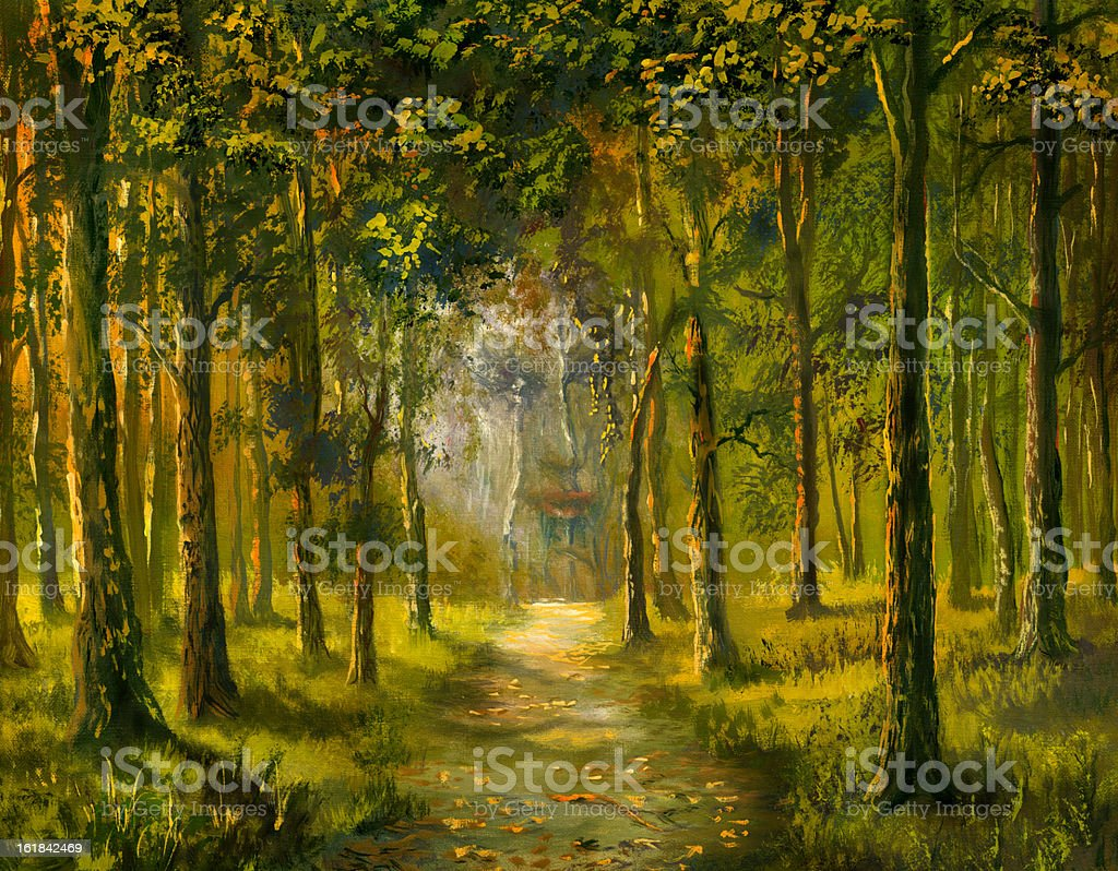 Sight of a wood vector art illustration