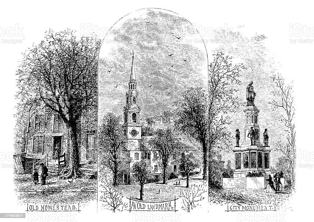 Sights from Providence, Rhode Island vector art illustration