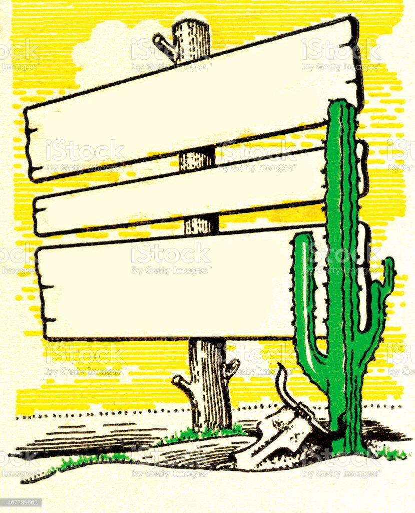 Sign in the Desert vector art illustration