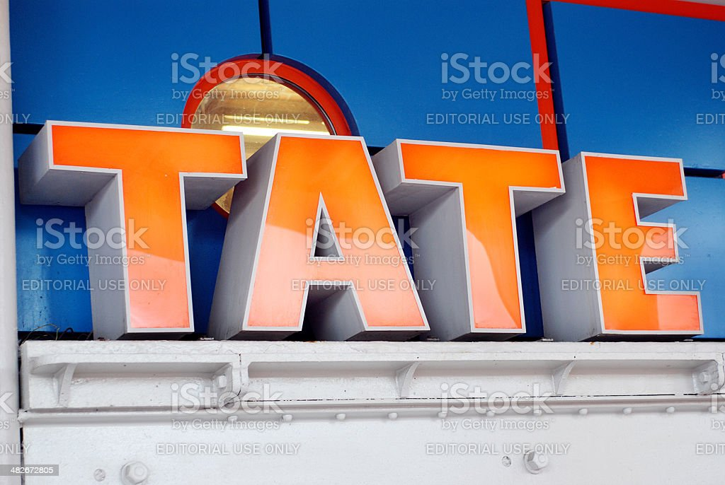 Sign of the Tate gallery in Liverpool Albert Dock vector art illustration