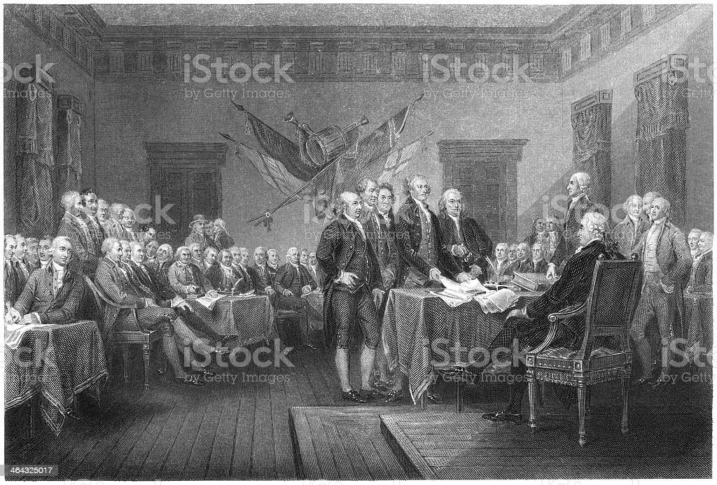 Signing of the Declaration of Independence - Antique Engraving vector art illustration