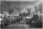 Signing of the Declaration of Independence - Antique Engraving