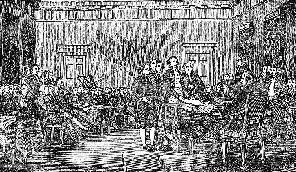 Signing The USA American Declaration Of Independence vector art illustration