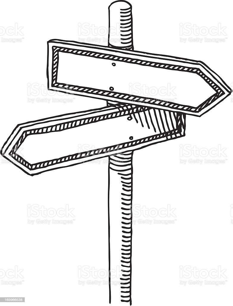 Signpost Choice Two Directions Drawing vector art illustration