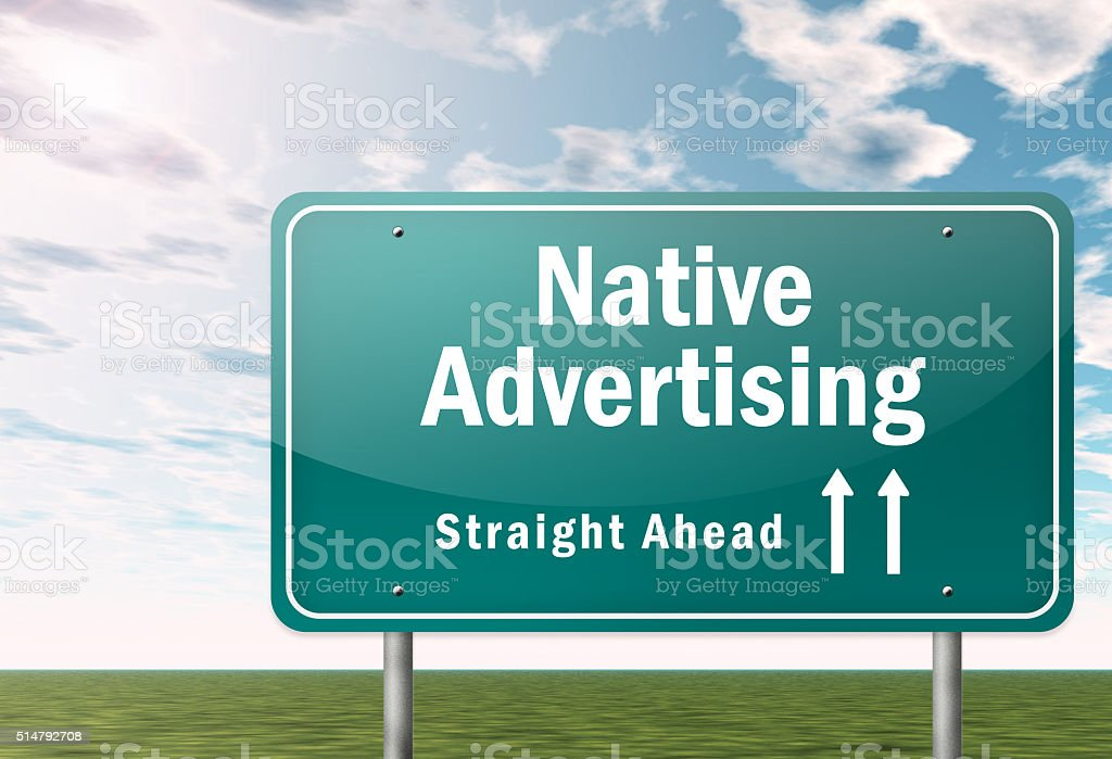 Signpost Native Advertising vector art illustration