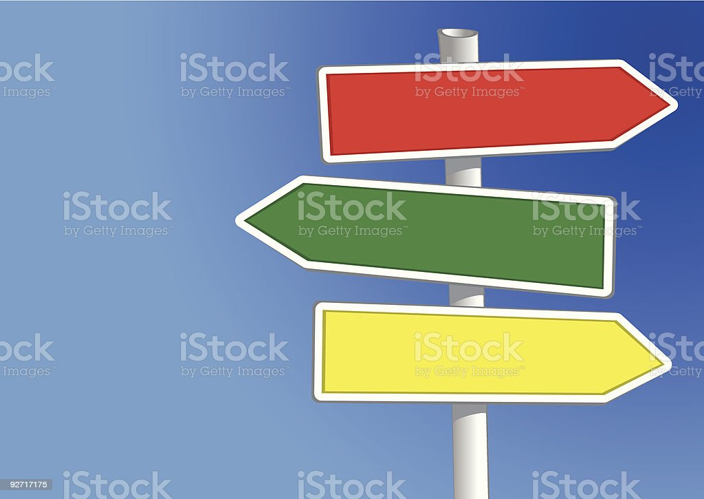 Signpost three arrows royalty-free stock vector art