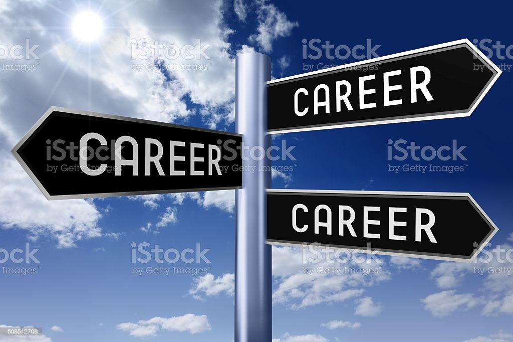 Signpost with three arrows - career concept vector art illustration