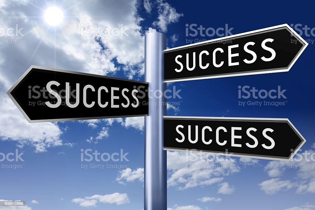 Signpost with three arrows - success vector art illustration