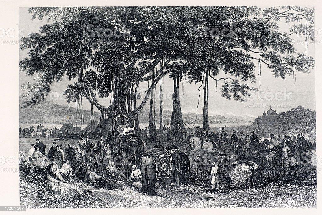 Sikh cavalry vector art illustration