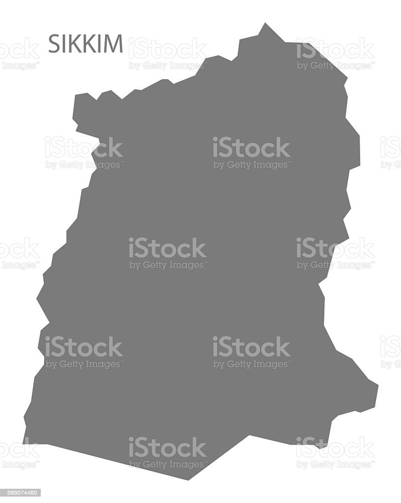Sikkim India Map grey vector art illustration