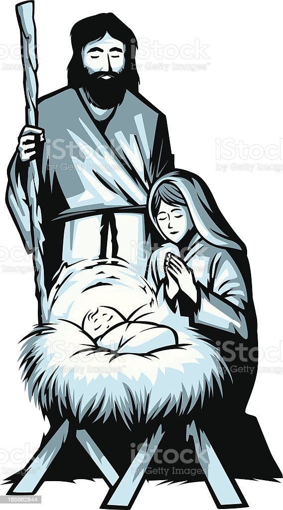 silent night nativity vector art illustration
