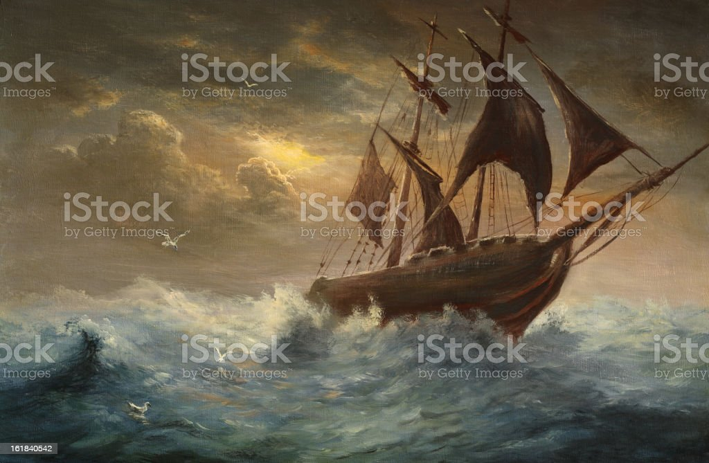 Silhouette a schooner vector art illustration