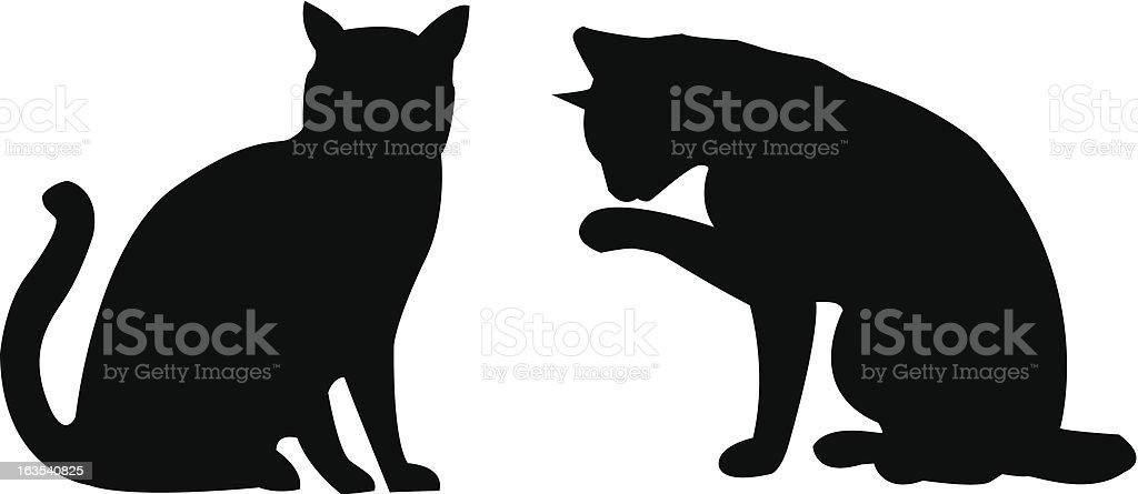 Silhouette Cats vector art illustration