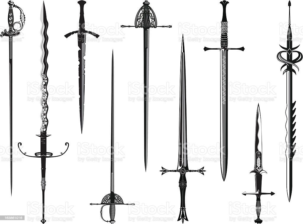 Silhouette collection of swords vector art illustration