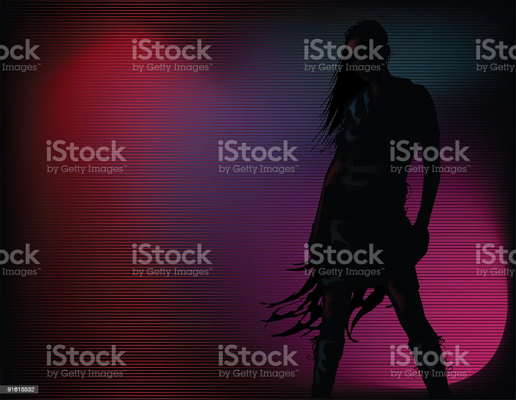 Silhouette girl with dramatic lighting vector art illustration