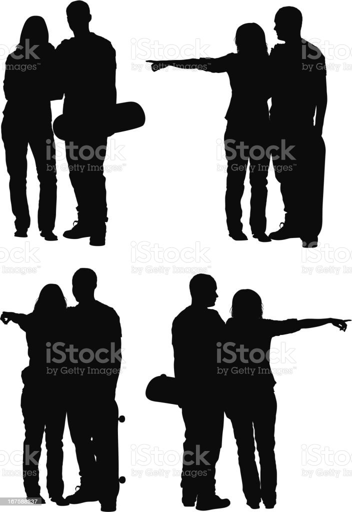 Silhouette of a couple with skateboard royalty-free stock vector art