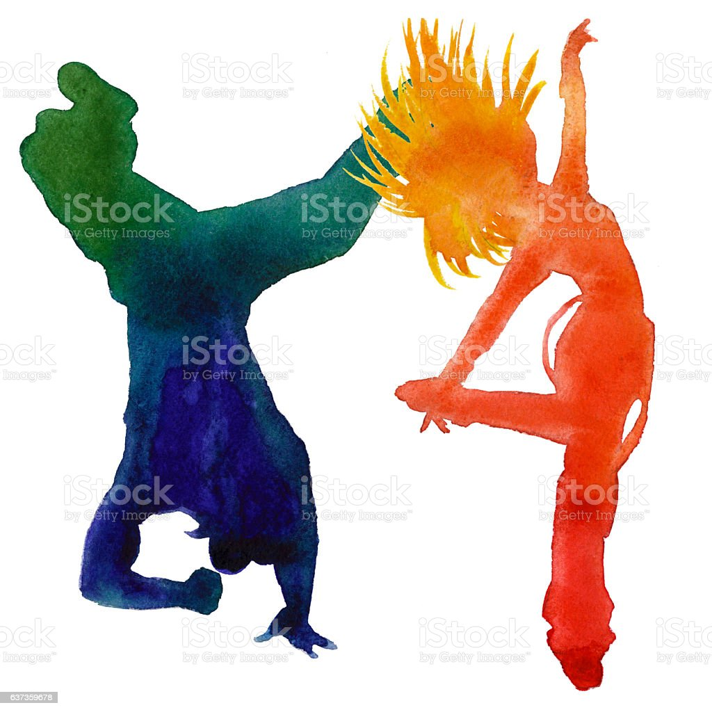 Silhouette of a dancer. Hip hop dance. vector art illustration