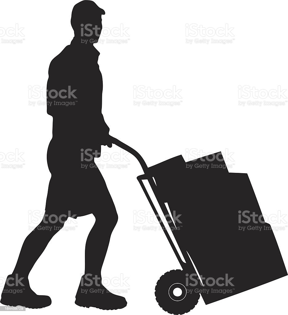 Silhouette of a delivery man pushing cart vector art illustration