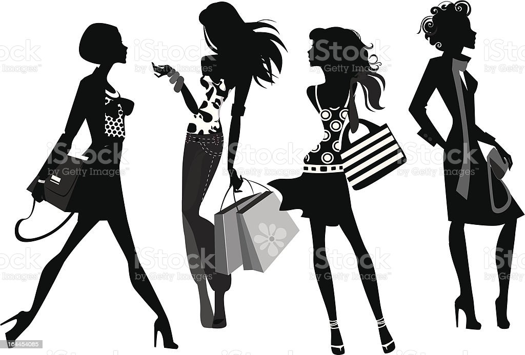 silhouette of a fashion women royalty-free stock vector art