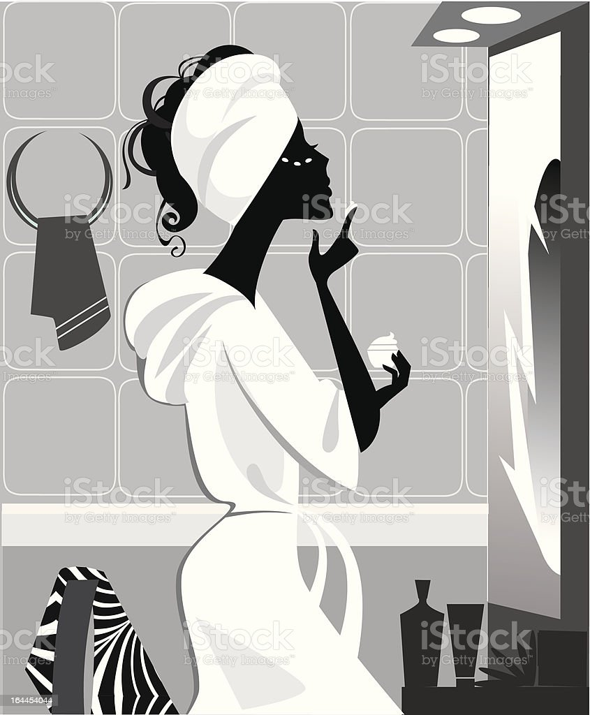 silhouette of a girl who does make-up in the mirror royalty-free stock vector art