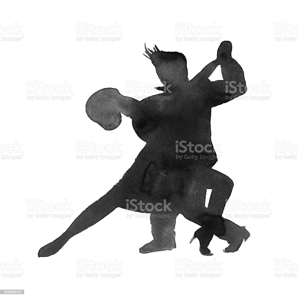 silhouette of a man and a woman dancing tango. isolated. vector art illustration
