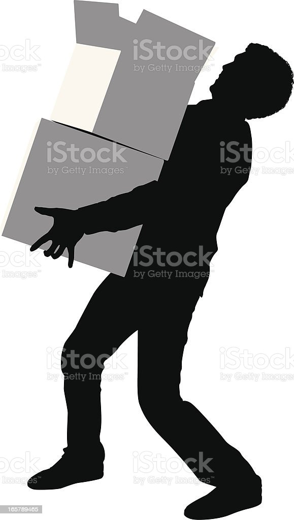 Silhouette of a man carrying cardboard boxes royalty-free stock vector art