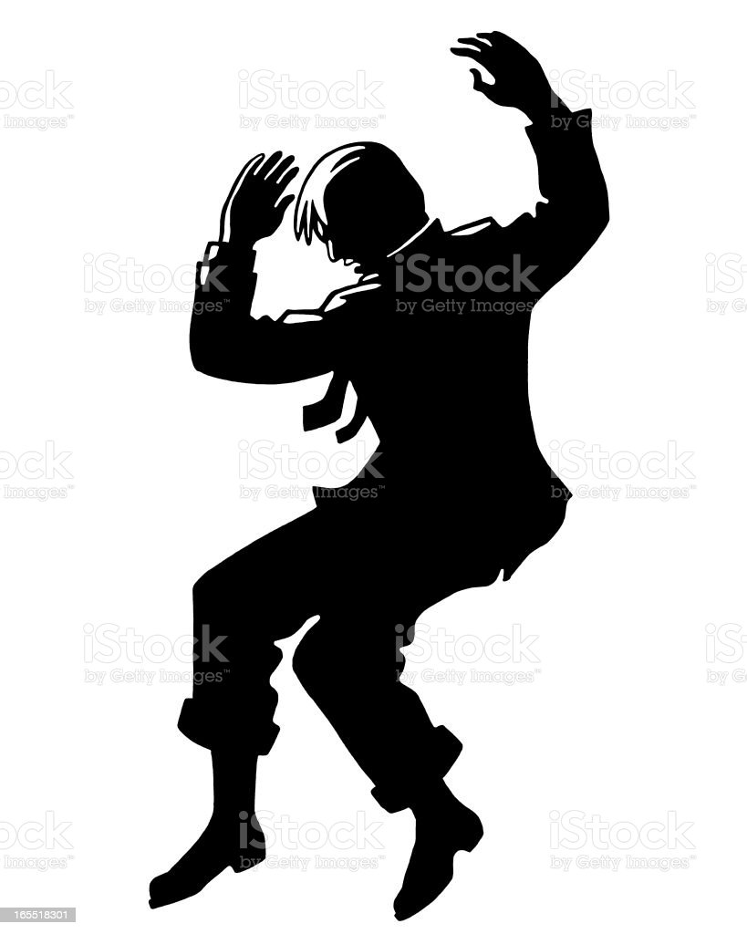 Silhouette of a Man Falling royalty-free stock vector art