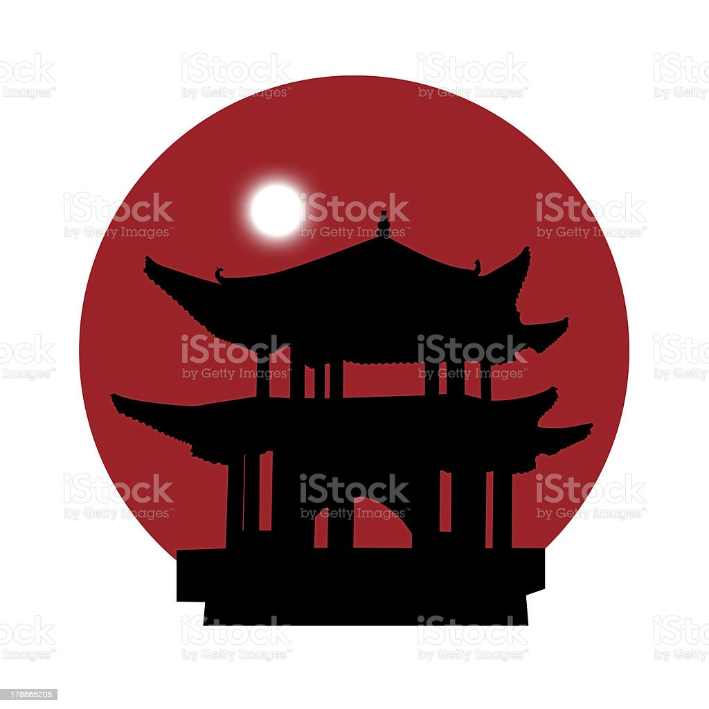 silhouette of a pagoda on red sun background royalty-free stock vector art