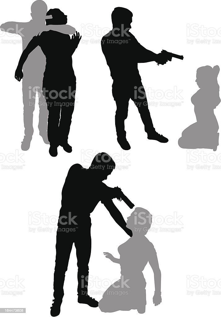 silhouette of a terrorist hostage royalty-free stock vector art