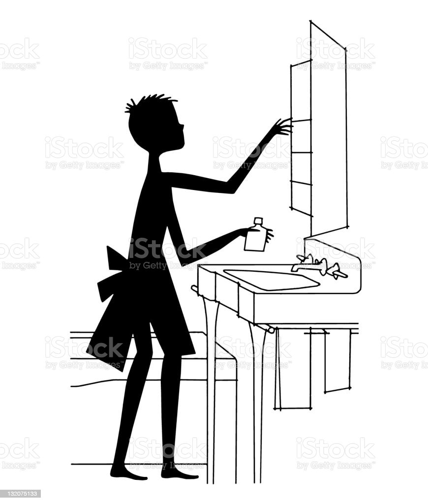 Silhouette of Boy at Sink royalty-free stock vector art