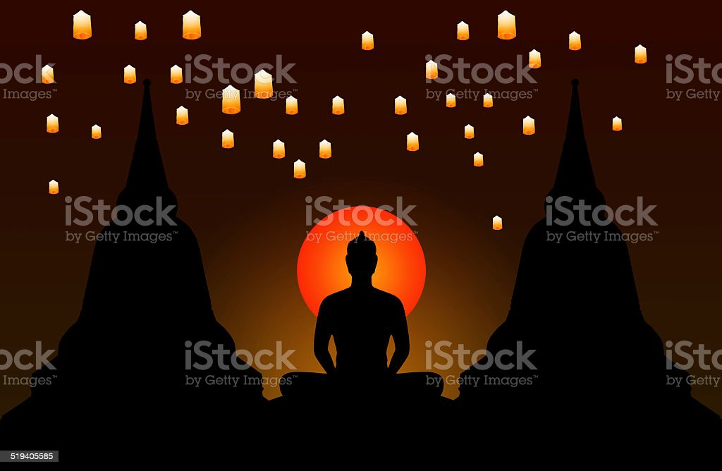 Silhouette of buddha at night and the lanterns floating vector art illustration