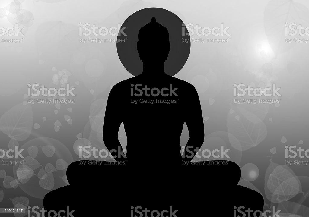 Silhouette of buddha in black & white style, Thailand vector art illustration