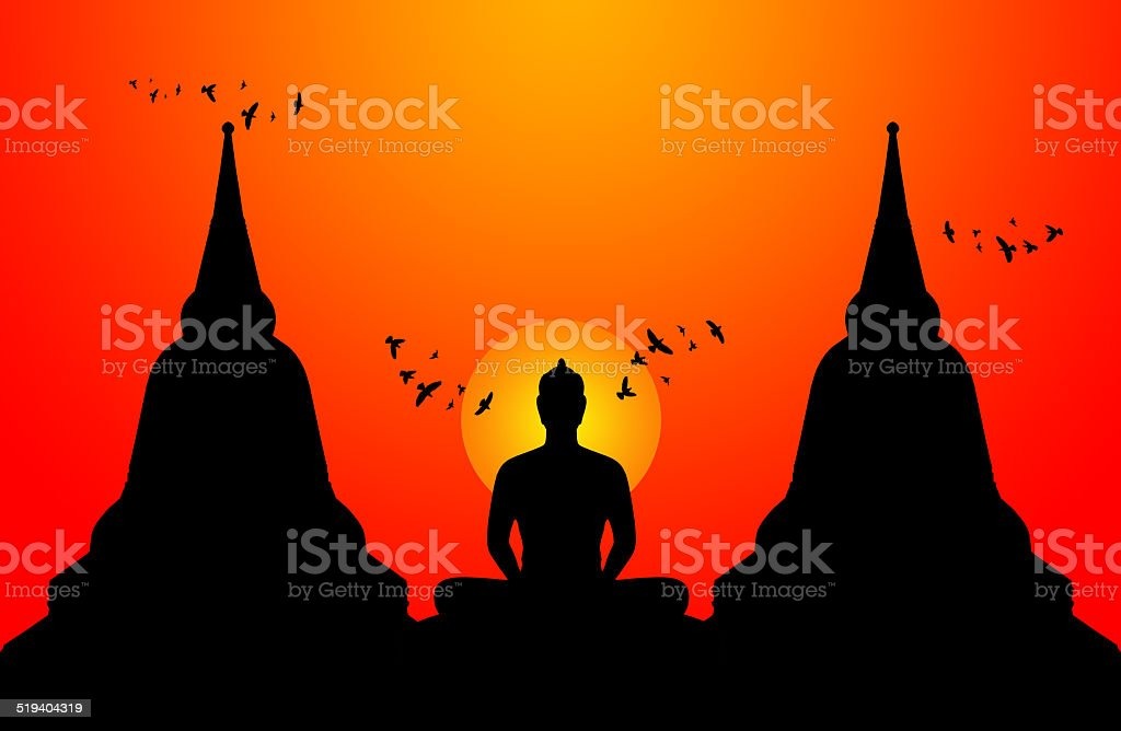 Silhouette of buddha on the sunset background,Thailand vector art illustration