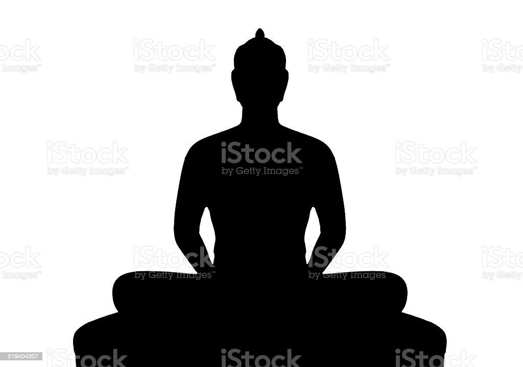 Silhouette of buddha on white background vector art illustration