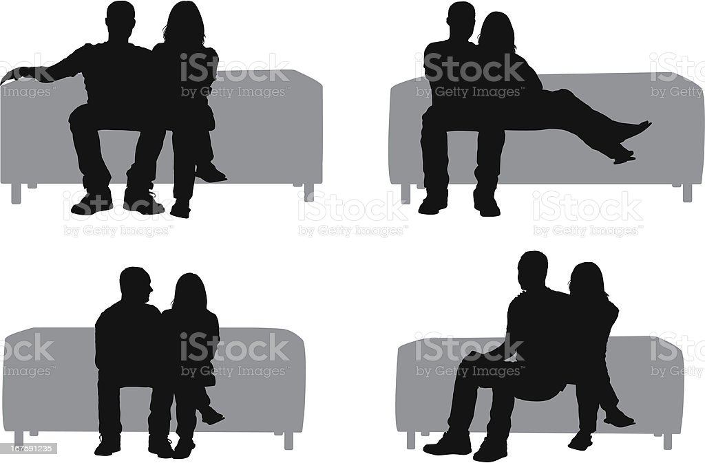 Silhouette of couple sitting on couch vector art illustration
