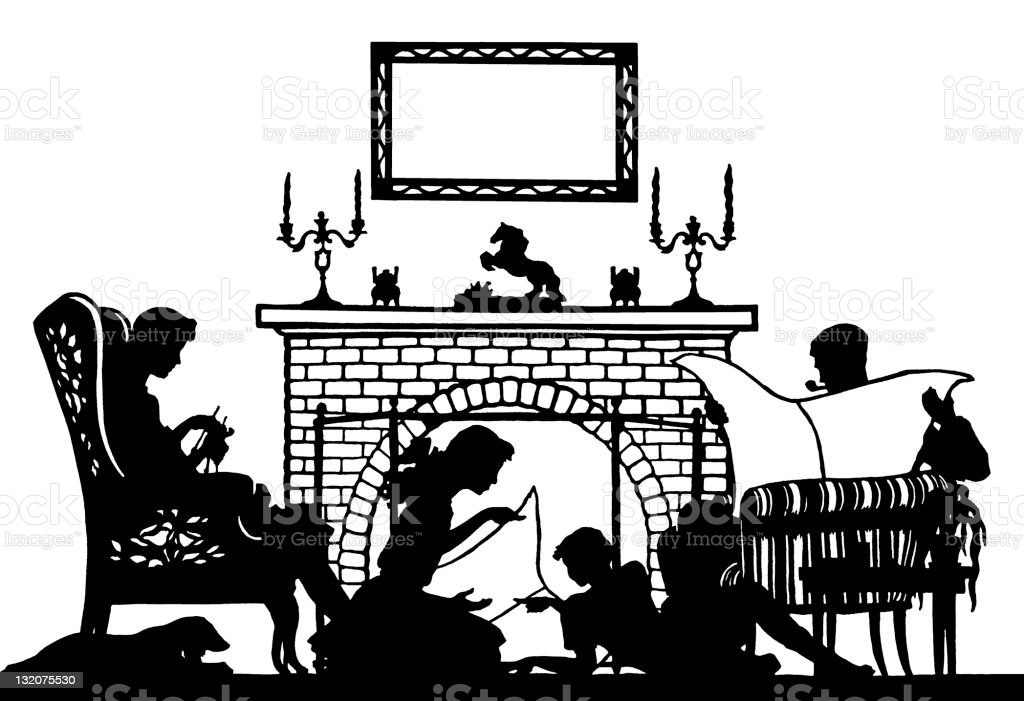 Silhouette of Family in Front of Fire royalty-free stock vector art