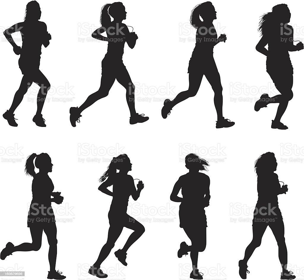 Silhouette Of Female Athlete Running royalty-free stock vector art